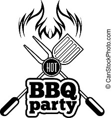 Barbecue logo. Barbecue logo features a cow skull and