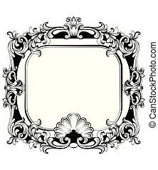 Ornate louis xvi french style mirror, vintage engraving