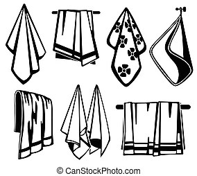 Towels and napkins icons. Simple set of towels and napkins