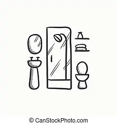 Bathroom objects sketch. Doodle style bathroom objects