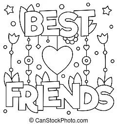 Best friends forever black and white handwritten lettering