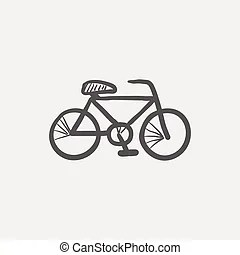 Antique bicycle sketch. Doodle style antique bicycle with