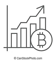 Bitcoin chart. Bitcoin symbol with a magnifying glass and