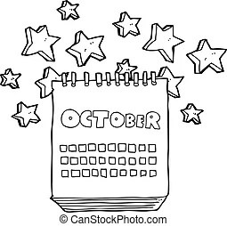 Vectors of October 2014 Black and White calendar