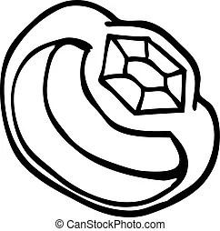Freehand drawn black and white cartoon sparkling diamond.