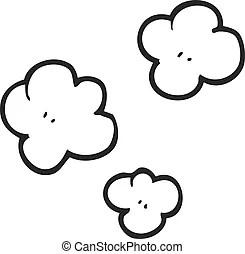 Black and white cartoon puff of smoke symbol. Freehand