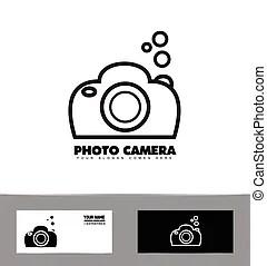 Black and white contour photo camera vector illustration.