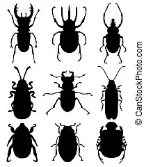 Bugs. Collection of outlines of insects and other
