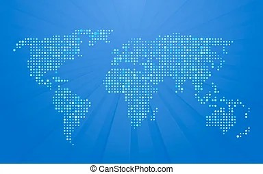 blue world map with