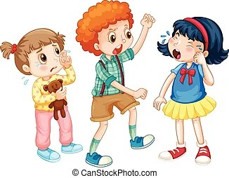 Boy bullying girl. Evil little boy kid bullying poor sad... vector clipart - Search Illustration, Drawings and EPS Graphics Images - csp20188303