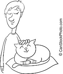 Boy grade student coloring page. Black and white cartoon