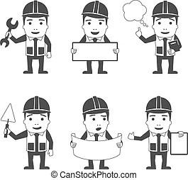 Manual workers or workmen characters set. Cartoon
