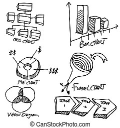 Business financial accounting drawing set. An image of a