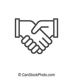 Outline business people leaders agreement. Outline drawing
