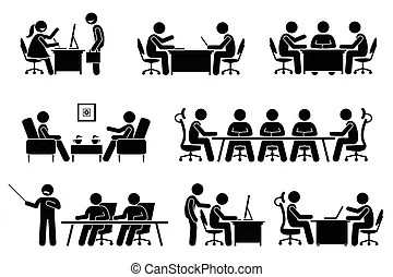 Business meeting discussion icon. A set of pictogram