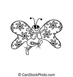 Animal bug butterfly cartoon female flying girl happy hop