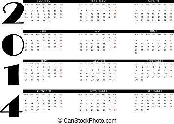 2014 english calendar. Calendar for 2014 year in english