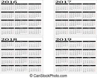 Calendar 2016 to 2023. New calendar in english 2016 to 2023.