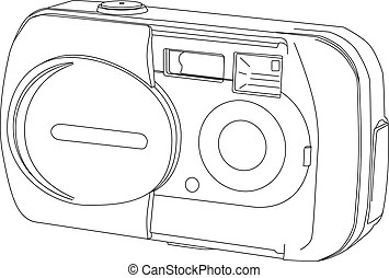Drawing of a digital slr camera. Hand sketch drawing
