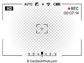 Camera viewfinder rec background. Camera viewfinder