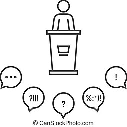 Teacher and audience symbol. Teacher and audience vector