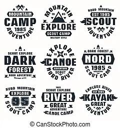 Outdoors tourism camping flat badges set of compass