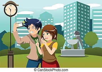 selfie clipart and stock illustrations