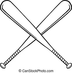 Clip Art Vector of Baseball or Softball Crossed Bats w