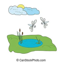 dragonflies and pond - small