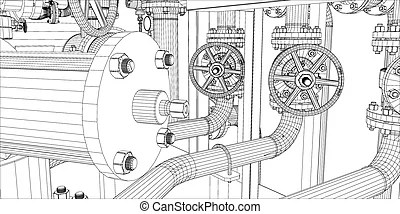 Vector of Wire-frame industrial equipment oil and gas pump