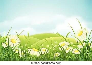 spring meadow vector clip art eps