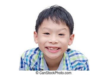 Happy boy toothless smile close-up - Happy Asian boy...