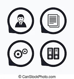 Vector of Accounting workflow icons. Human documents