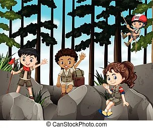 Image result for children climbing up mountain clipart