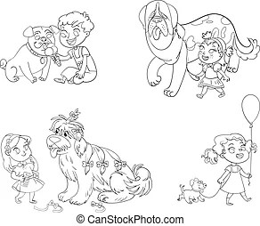 Vectors Illustration of Children play with toys. Little