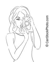 Vector Illustration of Contour Camera Drawing csp14424922