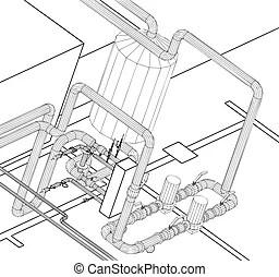 Hydraulic valve Vector Clip Art Illustrations. 56