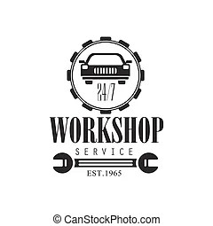 Auto mechanic black and white emblems. classic style