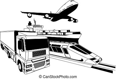 Global logistics concept airplane truck train ship. Global