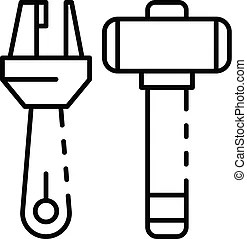 Truck drill icon, outline style. Truck drill icon. outline