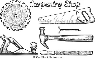 Retro woodwork and carpentry vector logo set in