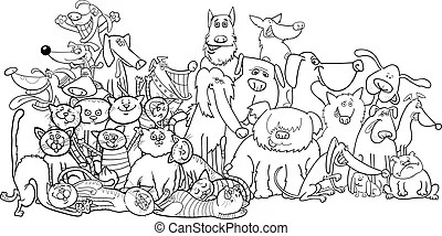 Cat and dog cartoon for coloring book. Black and white