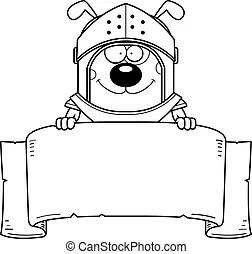 Cartoon dog with a banner. Cartoon illustration of a dog