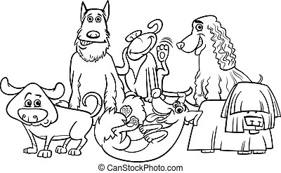 Purebred dogs group cartoon for coloring. Black and white