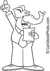 A cartoon style man giving an introduction.