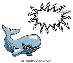 whale cartoon angry freehand artistic happy