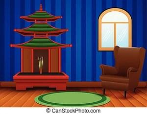 cartoon living background interior chinese painting