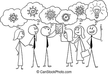 Stickman communication problem. Stickmen with speech