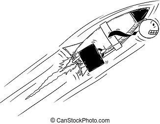 Cartoon of man with helmet riding fast on bicycle. Cartoon