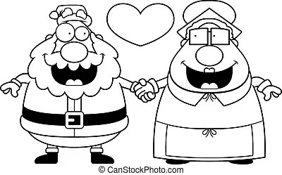 Santa and mrs claus waving hands for christmas. A vector
